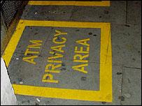 Cash machine privacy area