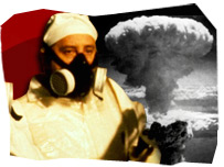 Man in a radiation suit and a mushroom cloud