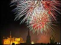 A fireworks concert at Edinburgh Castle