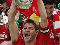 Liverpool's Steven Gerrard celebrates after the FA Cup final