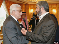 Mahmoud Abbas (left) and Khaled Meshaal