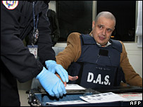 Luis Hernando Gomez Bustamante is fingerprinted in Bogota on 8 February 2007