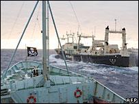 Japan's Nisshin Maru whaling ship seen from the deck of the anti-whaling ship the Robert Hunter - 9/2/07
