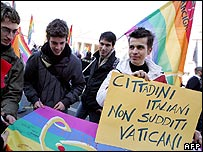 Demonstration against Vatican opposition to legal status for gay couples