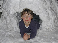 Max Berlyn, 7, at home in Pershore, Worcs