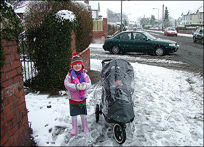 Taylor from Rhiwbina, Cardiff on her way to school
