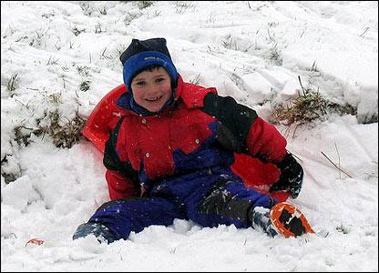 Jack enjoying the snow at Hundred House, Llandrindod Wells from Jenni Moorhouse