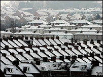 Snow-covered rooftops in Newcastle