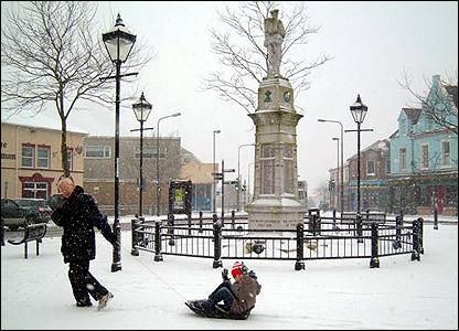 Rhys and grandfather John in Brynmawr snow scene. Photo: Becky Sweet