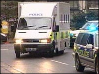 Police van arriving at court in London