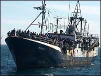 The Marine 1 carrying migrants