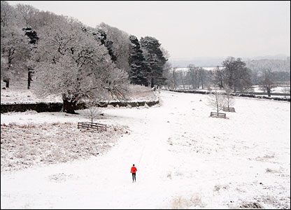 A jogger in the snow in Bradgate Park, Leicester