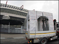 A lorry brings new turnstiles in San Siro