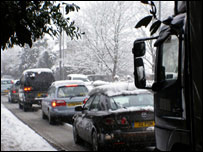 Gridlock on the A40 at Abergavenny in Monmouthshire