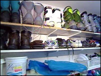 Boots in a family's nuclear shelter which is being used for storage