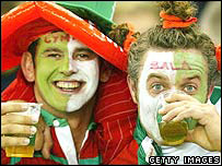 Welsh fans at a rugby international