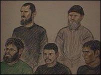 The accused men in court (court artist impression)