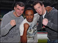 Sugar Ray Leonard (centre), Joe Calzaghe (left) and Enzo Maccarinelli