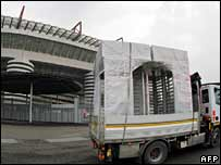 New turnstiles being installed at San Siro stadium, Milan