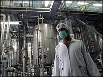An Iranian technician works at the Isfahan Uranium Conversion Facilities