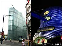 Urbis building, Manchester (l) and Selfridges, Birmingham