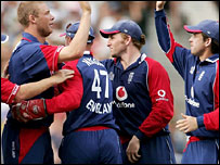 England celebrate a wicket in Friday's win