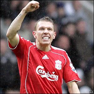 Craig Bellamy celebrates scoring against his old club