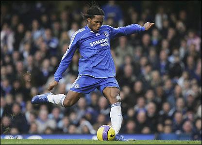 Drogba prepares to shoot at Stamford Bridge