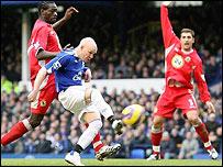 Andrew Johnson volleys Everton in front against Blackburn