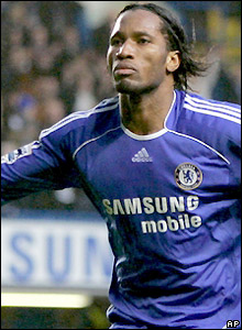 Drogba celebrates his second goal