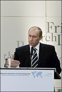 Russian President Vladimir Putin speaks in Munich