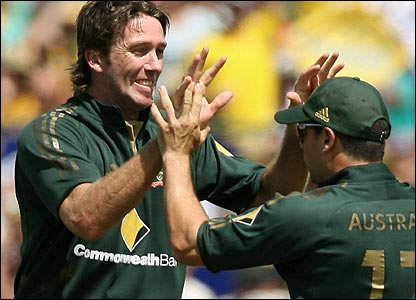 Glenn McGrath strikes to remove Ed Joyce in the ninth over