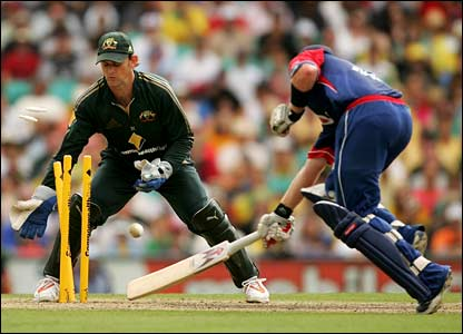 Ian Bell is run out by Michael Hussey
