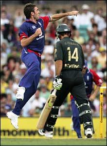 Liam Plunkett celebrates the wicket of Ricky Ponting