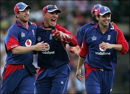 England celebrate the dismissal of Matthew Hayden