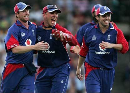 England celebrate the dismissal of Matthew Hayden