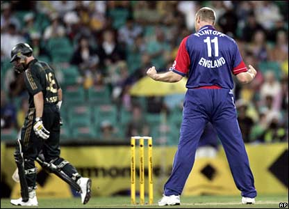 Andrew Flintoff celebrates the wicket of Michael Hussey