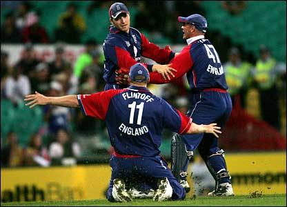 England celebrate Jamie Dalrymple's catch to remove Shane Watson