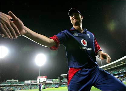 Andrew Flintoff shakes the hand of a fan