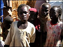 Sudanese children at a Darfur refugee camp