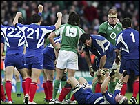 France's players celebrate the final whistle at Croke Park