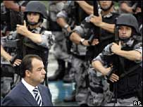 Governor of Rio de Janeiro state, Sergio Cabral, inspects National Security Force