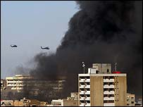 Smoke rises over Baghdad after bombing
