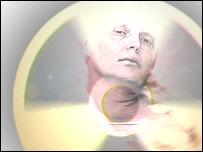 Montage: Alexander Litvinenko and radiation symbol