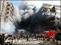 Emergency services arrive at scene of Baghdad market blasts