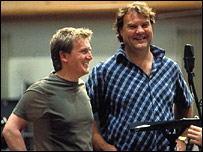 Bryn Terfel (R) recording with Aled Jones