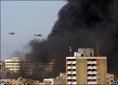 Helicopters flying towards the scene of the attacks
