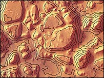 خريطة لمنطقة إياني كاوس في المريخ