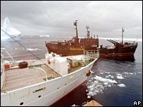 Ships in Antarctic. Image: AP/Sea Shepherd