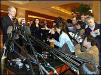 US negotiator Christopher Hill talks to reporters in Beijing on Monday
